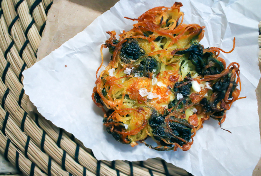 Feta and Spinach Latkes with Tzatziki for Hanukkah