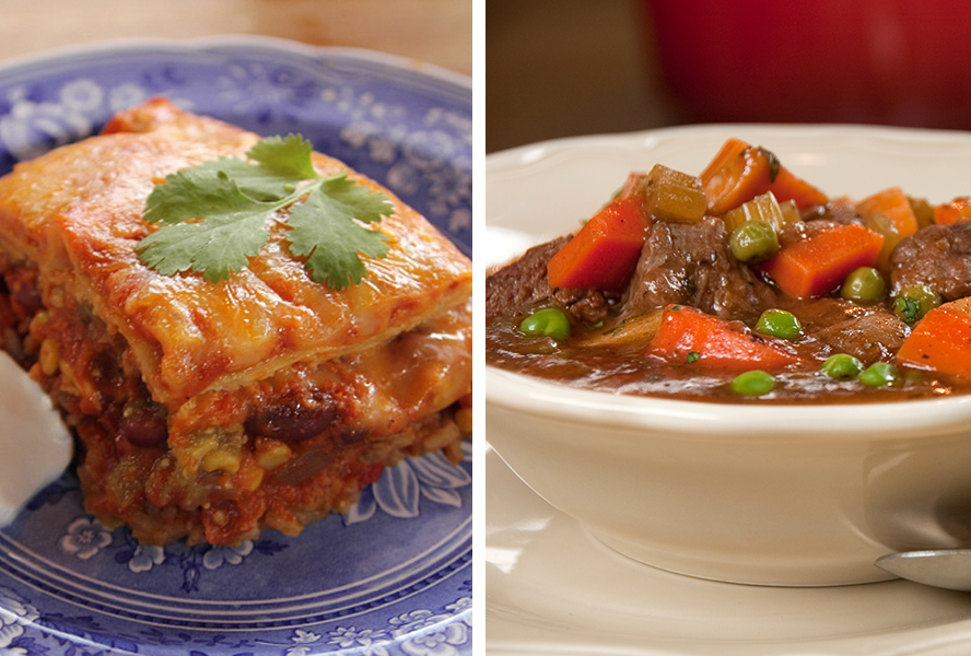 Beef stew and chicken tortilla casserole