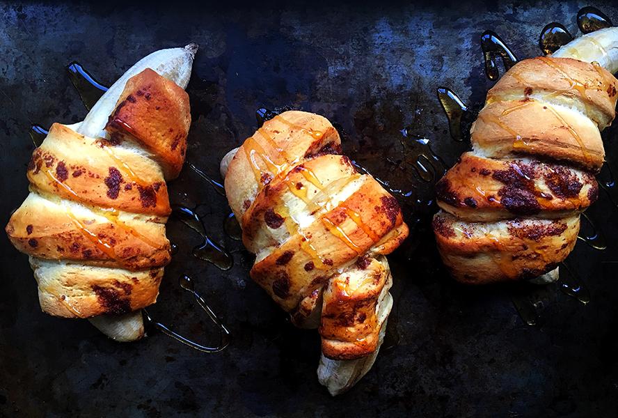 Banana Stuffed Cinnamon Rolls