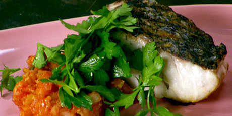 Grilled Striped Bass with Cauliflower and Tomatoes with Caperberries and Black Olives with Parsley Salad