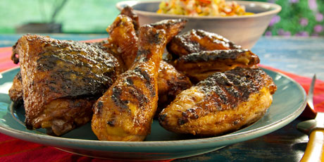 Grilled Red Chile Buttermilk Chicken with Spicy Mango Honey Glaze