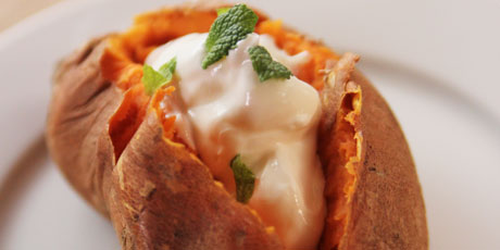 Baked Sweet Potato with Sour Cream and Mint