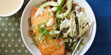 Wheat Berry Bowl with Salmon and Miso Sauce