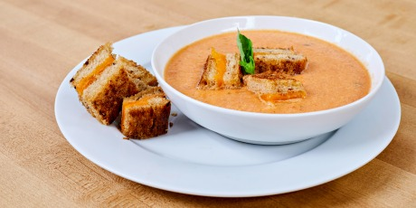 Roasted Tomato and Garlic Soup with Grilled Cheese Croutons