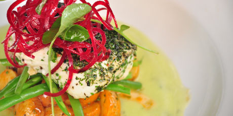 Olive-Oil Poached Pacific Halibut with Chipotle-Potato Salad and Mint-Cucumber Gazpacho