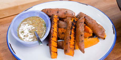 Grilled Sweet Potato Fries with Honey-Mustard-Mint Dipping Sauce
