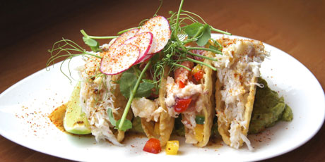 Dungeness Crab Tacos with Radish Sprouts
