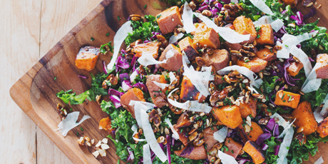 Roasted Sweet Potato Kale Salad with Mustard Dill Vinaigrette