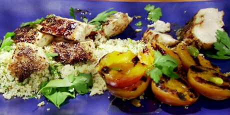 Grilled Chicken Couscous with Apricots and Pistachio