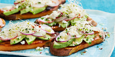 Sweet Potato Toast with Avocado and Sprouts