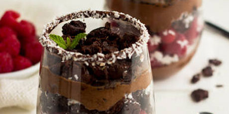 Brownie Coconut Raspberry Mousse Parfaits