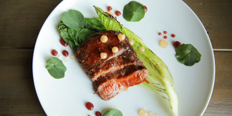 Grilled Bison with White Currant BBQ Sauce
