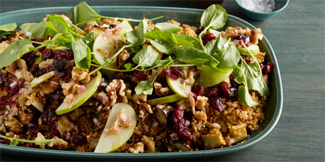 Quinoa, Roasted Eggplant and Apple Salad with Cumin Vinaigrette