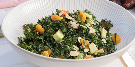 Grilled Kale Salad with Roasted Sungolds
