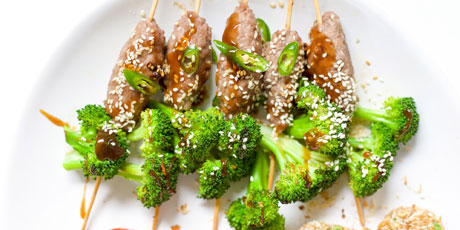 Broccoli Beef Skewers with Teriyaki Glaze