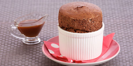Chocolate Souffles with Salted Caramel Sauce