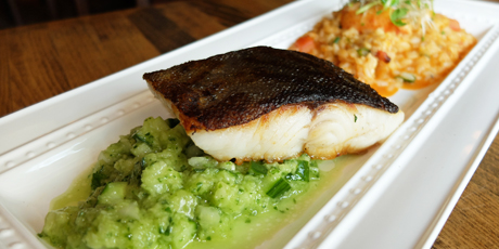 Pan-Seared Sablefish on Cucumber Salsa Verde and Lobster Risotto