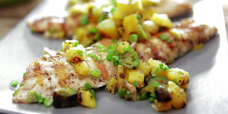 Grilled Pink Snapper with Caramelized Pineapple-Green Onion Butter and Relish
