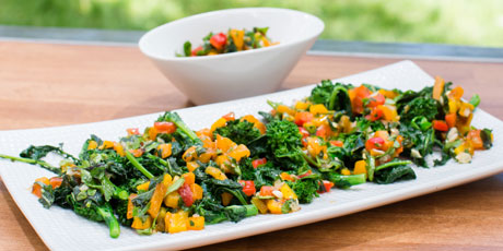 Grilled Broccoli Rabe with Grilled Pepper Relish