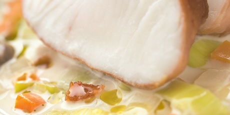 Prosciutto-Wrapped Halibut with Littleneck Clam Chowder