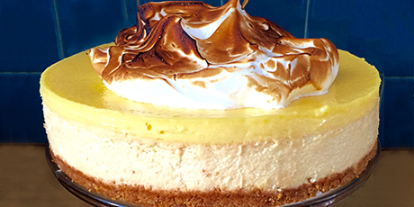 Meyer Lemon Meringue Cheesecake