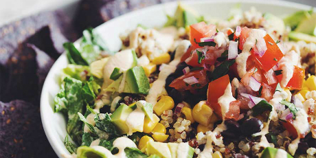 Rainbow Quinoa Taco Salad with Vegan Dressing