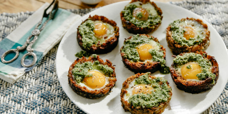 Carrot Hash with Eggs and Pesto
