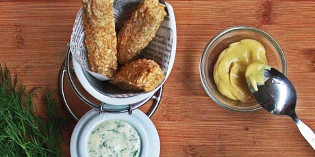 Fish Sticks with Dill Caper Aioli