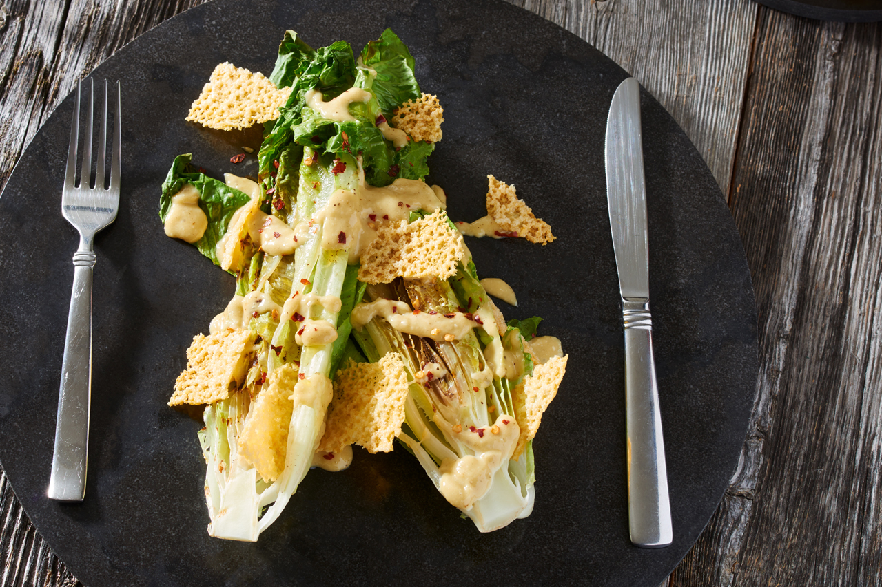 Grilled Caesar Salad with Cheddar Crisps