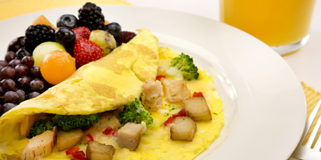Potato and Cheese Omelet with Turkey and Broccoli