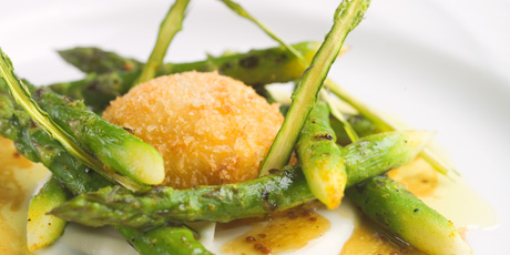Grilled Asparagus Salad with Sherry Vinaigrette and a Crispy Egg