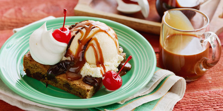 Chocolate Chip Caramel Ice Cream Sundae