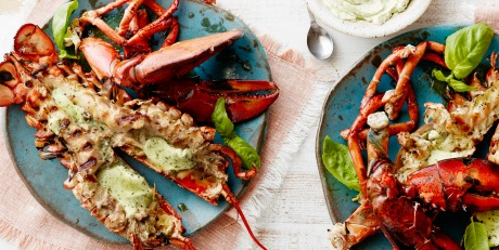 Grilled Lobster Smothered in Basil Butter