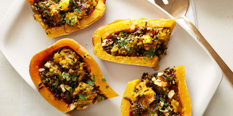 Vegan Wild-Rice-Stuffed Butternut Squash