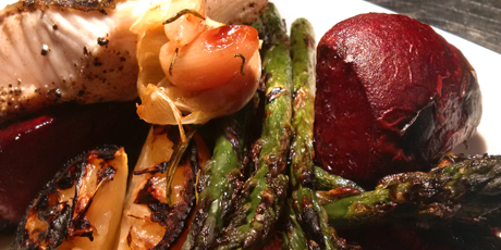 BBQ B.C. Salmon with Beets and Asparagus