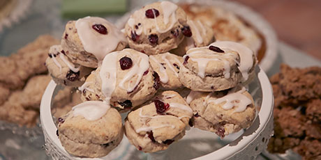 Linda's Berry Scones With Lemon Glaze and Devonshire Cream
