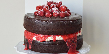 Raspberry Mascarpone Black Forest Cake