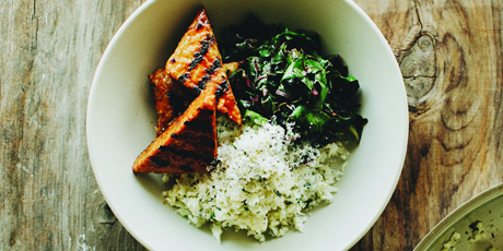 "Barbecue Tempeh, Greens and Cauliflower ""Couscous"""