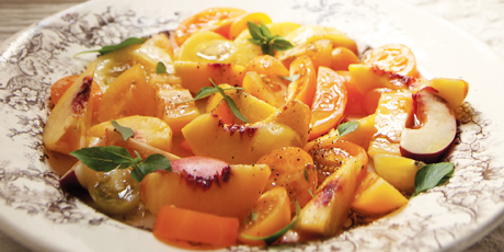 White Peach and Yellow Tomato Salad