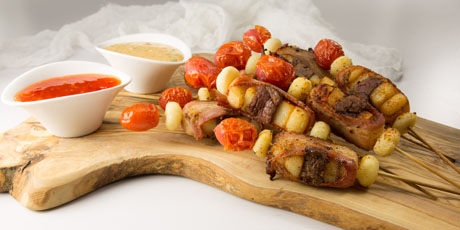 Bacon-Wrapped Sirloin and Potato Skewers