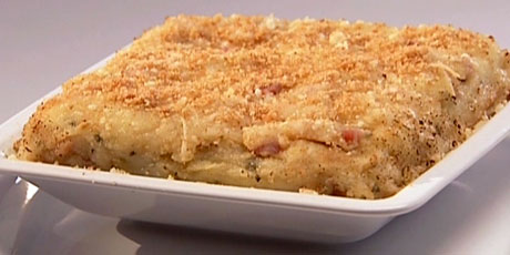 Baked Mashed Potatoes with Pancetta, Parmesan Cheese and Breadcrumbs