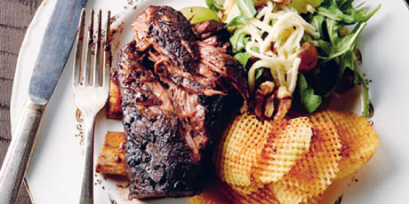 Sticky Bison Short Ribs with Waldorf Slaw and Gaufrette Potatoes
