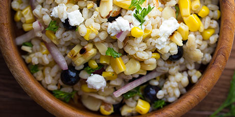 Grilled Corn and Barley Salad with Goat Cheese and Blueberries