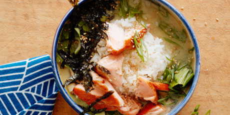 Glazed Salmon Miso Soup Rice Bowl