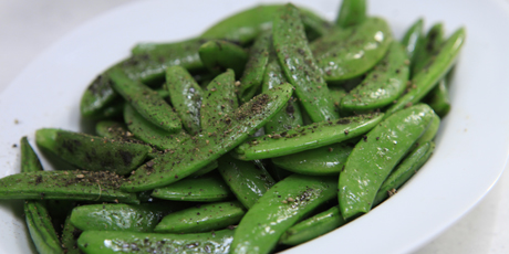Roasted Sugar Snap Peas with Black Pepper