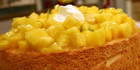 Angel Food Cake with Mango Lime Salsa and Vanilla Cream