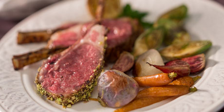 Apricot Pistachio BBQ Grilled Rack of Lamb