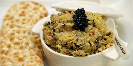Artichoke and Hot Smoked Salmon with Sturgeon-Flavoured Kelp Caviar Dip