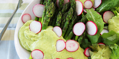Asparagus & Radish Salad with Avocado Tarragon Dressing