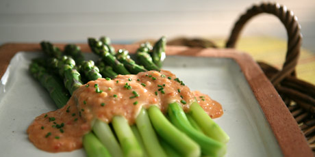 Asparagus with Rhubarb Hollandaise